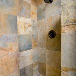 Walk-in slate shower