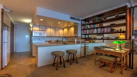 Desk and kitchen
