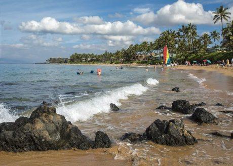 Palms at Wailea is a short walk to a white sandy beach.