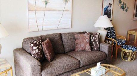 Kihei Akahai D412 Ocean views from living room with sofa bed