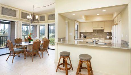Kapalua Ridge Villa 414 - Kitchen w/ Bar Stools
