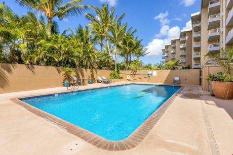 Make a Splash! - Don't feel like riding a big wave in the ocean? Take a dip in Nani Kai Hale's community pool instead.