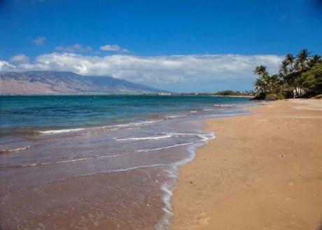 White sandy beach across the street from Kihei Bay Vista
